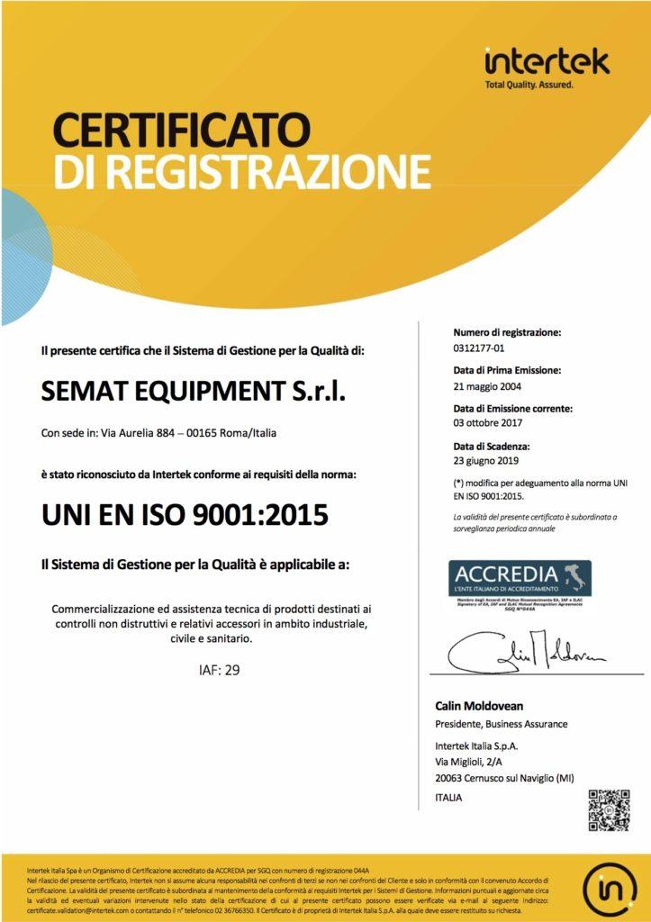 Certificato UNI EN ISO 9001 2015